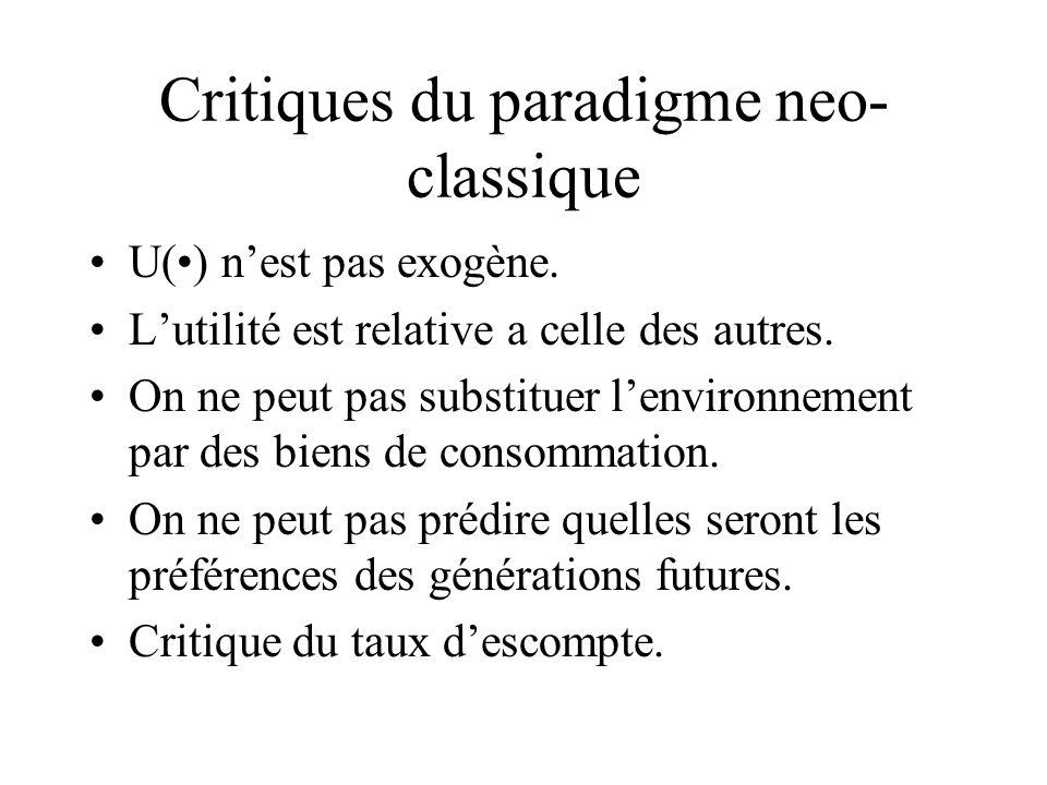 Critiques du paradigme neo- classique U() nest pas exogène. Lutilité est relative a celle des autres. On ne peut pas substituer lenvironnement par des