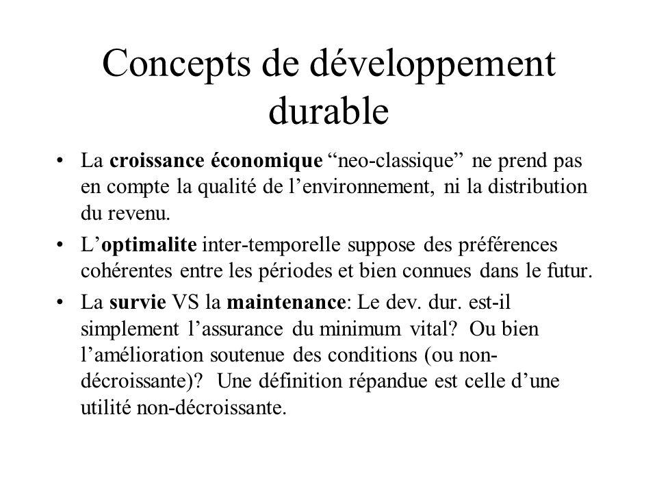 Concepts de développement durable La croissance économique neo-classique ne prend pas en compte la qualité de lenvironnement, ni la distribution du re