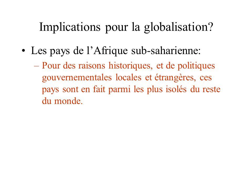 Implications pour la globalisation? Les pays de lAfrique sub-saharienne: –Pour des raisons historiques, et de politiques gouvernementales locales et é