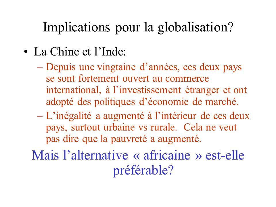 Implications pour la globalisation? La Chine et lInde: –Depuis une vingtaine dannées, ces deux pays se sont fortement ouvert au commerce international