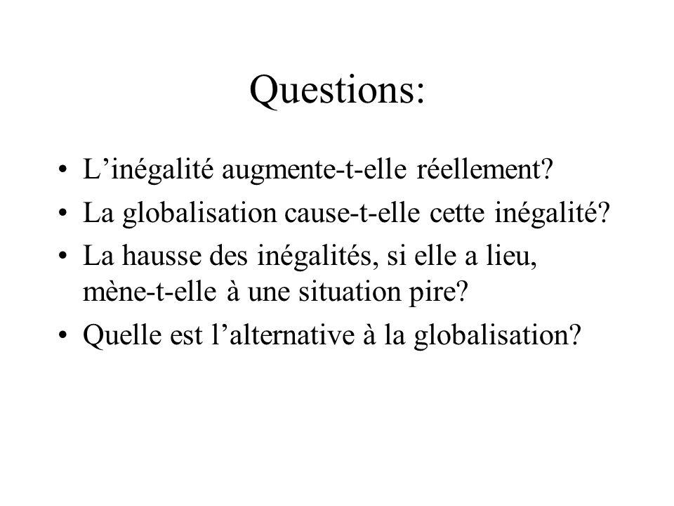 Questions: Linégalité augmente-t-elle réellement? La globalisation cause-t-elle cette inégalité? La hausse des inégalités, si elle a lieu, mène-t-elle