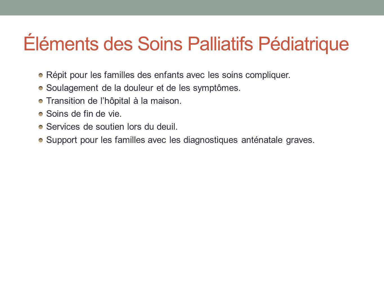 Éléments des Soins Palliatifs Pédiatrique Répit pour les familles des enfants avec les soins compliquer. Soulagement de la douleur et de les symptômes