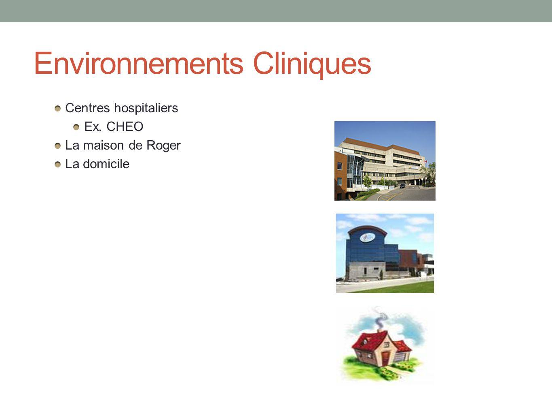 Environnements Cliniques Centres hospitaliers Ex. CHEO La maison de Roger La domicile