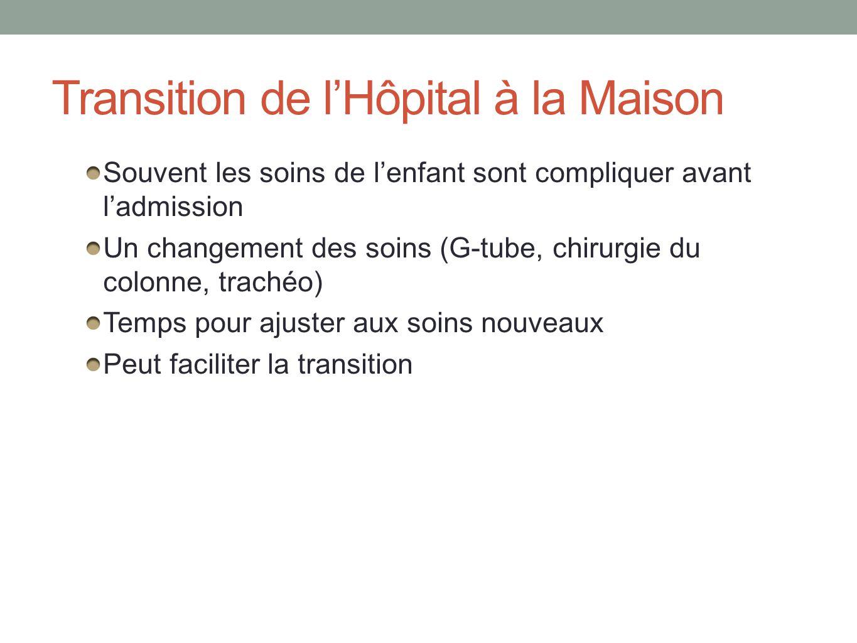 Transition de lHôpital à la Maison Souvent les soins de lenfant sont compliquer avant ladmission Un changement des soins (G-tube, chirurgie du colonne, trachéo) Temps pour ajuster aux soins nouveaux Peut faciliter la transition