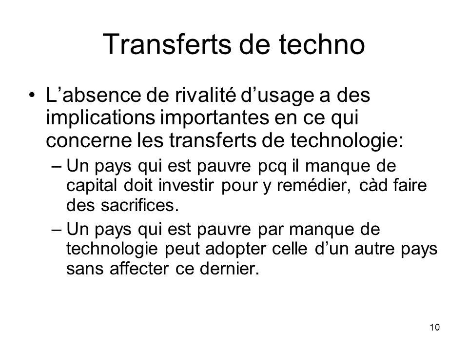 10 Transferts de techno Labsence de rivalité dusage a des implications importantes en ce qui concerne les transferts de technologie: –Un pays qui est