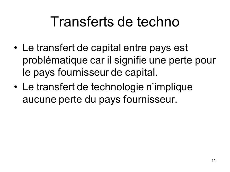 11 Transferts de techno Le transfert de capital entre pays est problématique car il signifie une perte pour le pays fournisseur de capital. Le transfe