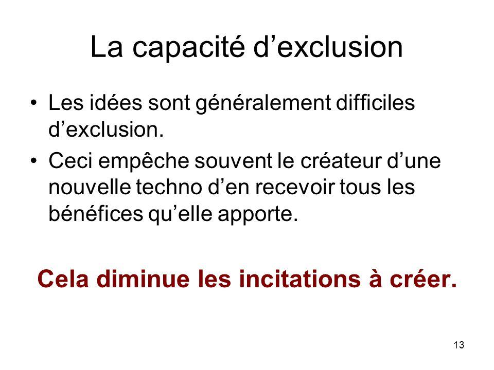 13 La capacité dexclusion Les idées sont généralement difficiles dexclusion. Ceci empêche souvent le créateur dune nouvelle techno den recevoir tous l
