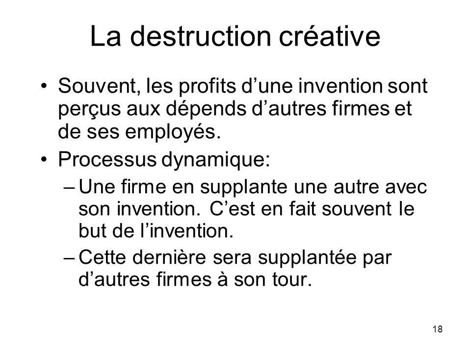 18 La destruction créative Souvent, les profits dune invention sont perçus aux dépends dautres firmes et de ses employés. Processus dynamique: –Une fi