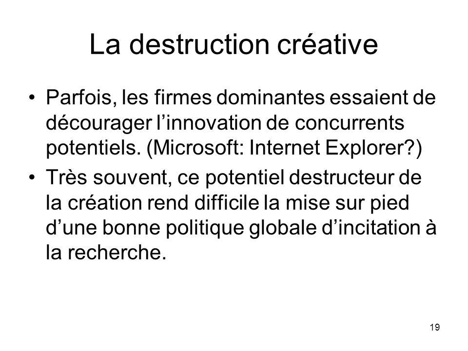 19 La destruction créative Parfois, les firmes dominantes essaient de décourager linnovation de concurrents potentiels. (Microsoft: Internet Explorer?