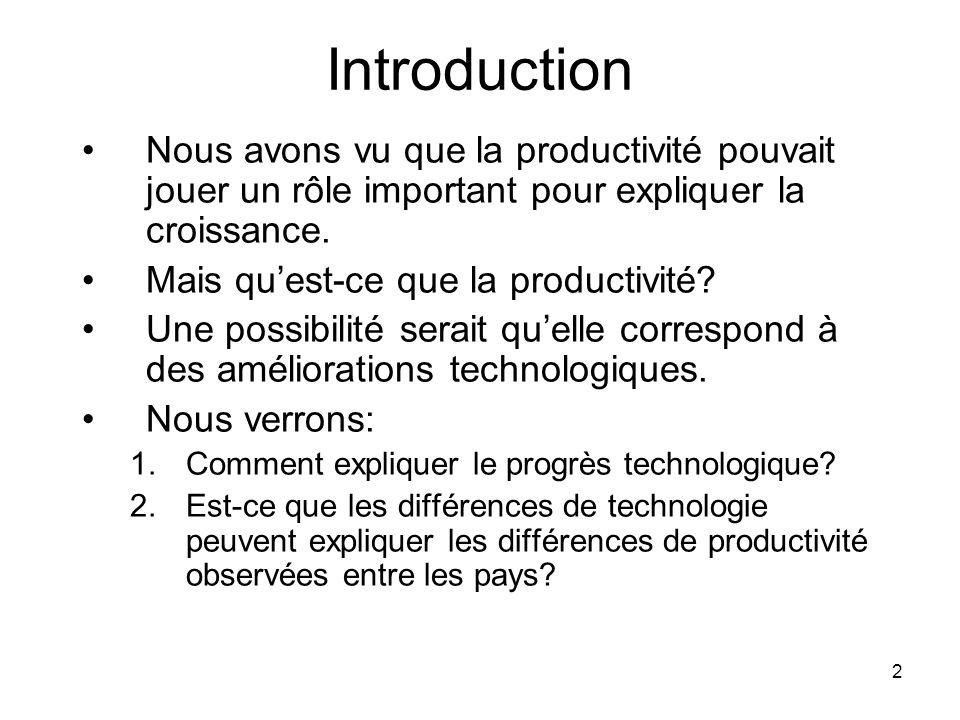 2 Introduction Nous avons vu que la productivité pouvait jouer un rôle important pour expliquer la croissance. Mais quest-ce que la productivité? Une