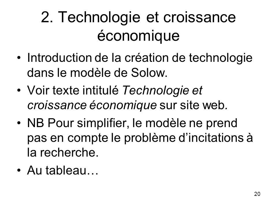 20 2. Technologie et croissance économique Introduction de la création de technologie dans le modèle de Solow. Voir texte intitulé Technologie et croi