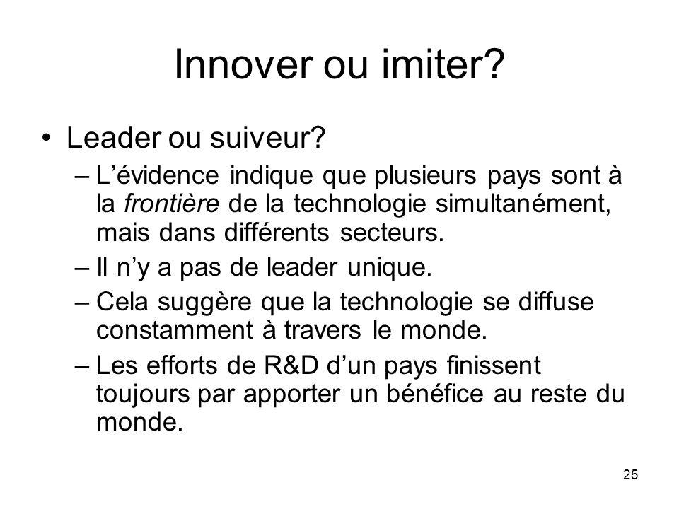 25 Innover ou imiter? Leader ou suiveur? –Lévidence indique que plusieurs pays sont à la frontière de la technologie simultanément, mais dans différen