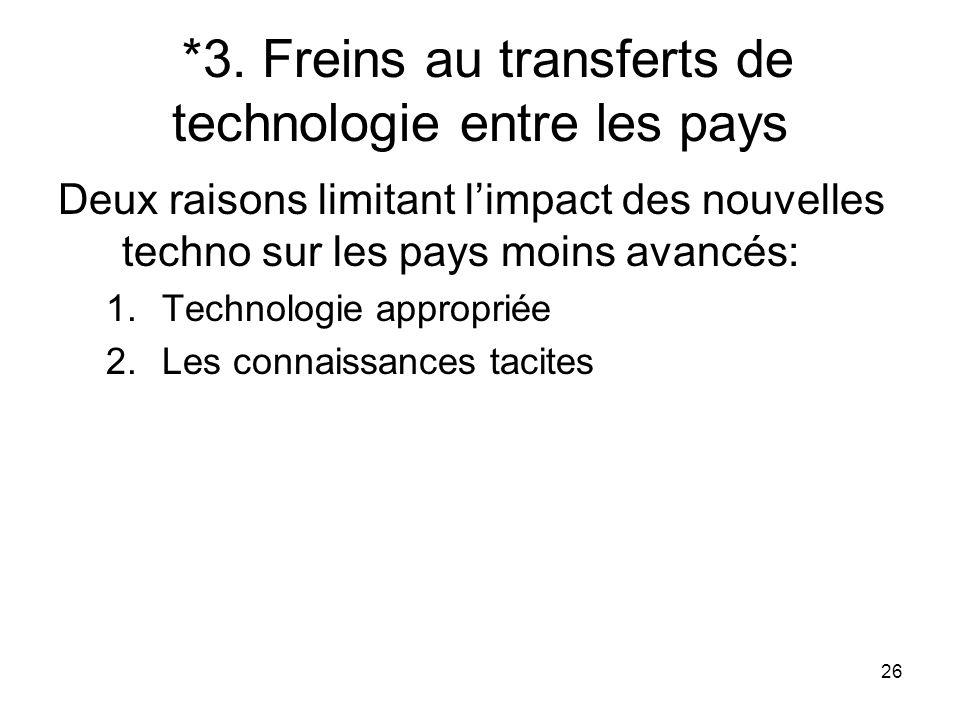 26 *3. Freins au transferts de technologie entre les pays Deux raisons limitant limpact des nouvelles techno sur les pays moins avancés: 1.Technologie