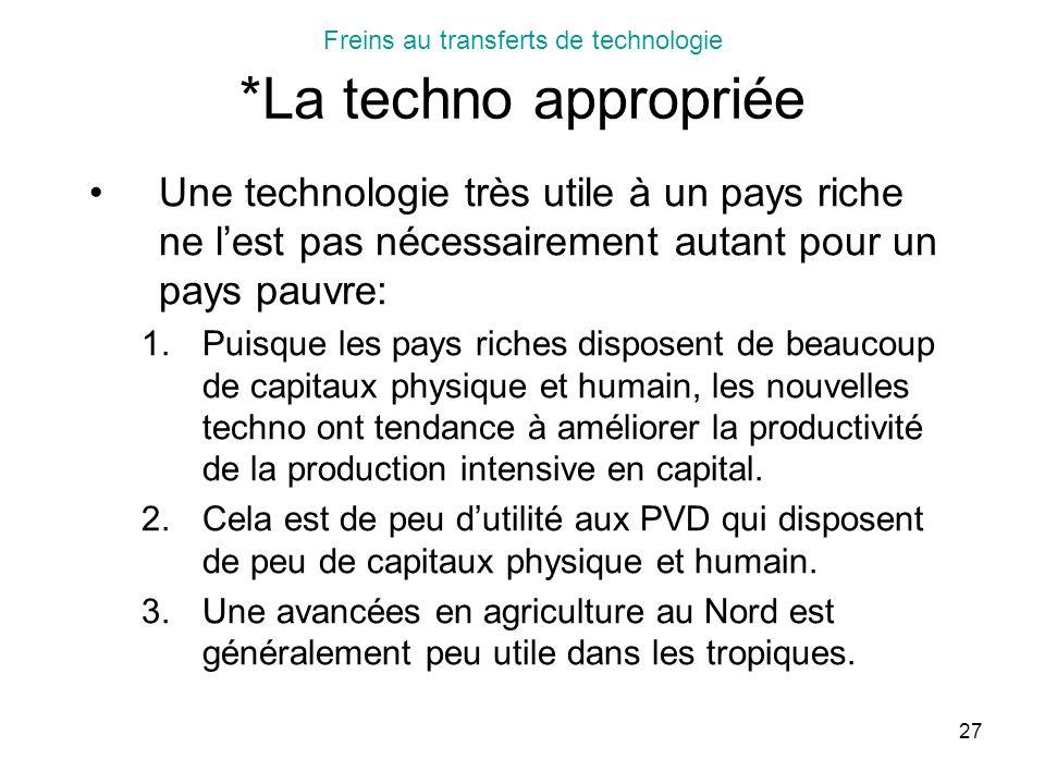 27 Freins au transferts de technologie *La techno appropriée Une technologie très utile à un pays riche ne lest pas nécessairement autant pour un pays