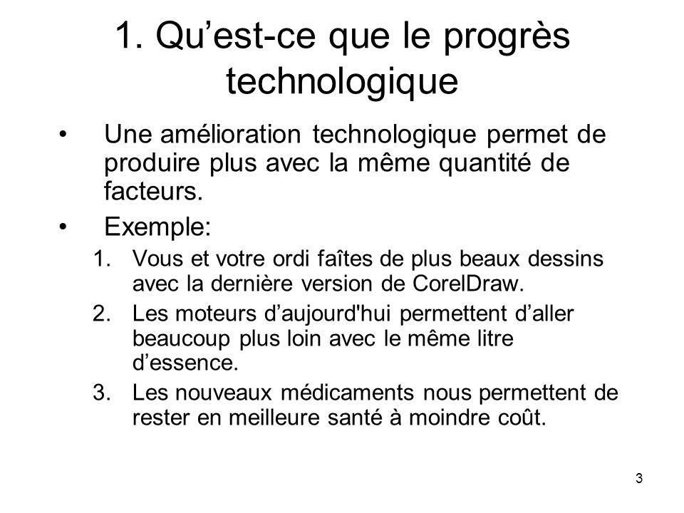 3 1. Quest-ce que le progrès technologique Une amélioration technologique permet de produire plus avec la même quantité de facteurs. Exemple: 1.Vous e