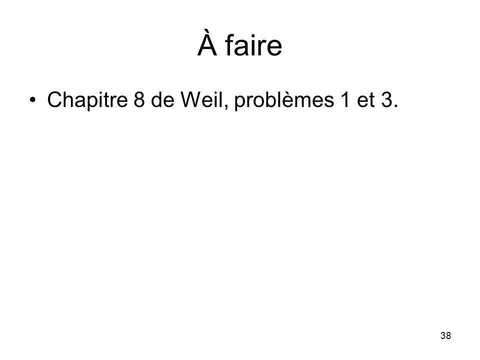 38 À faire Chapitre 8 de Weil, problèmes 1 et 3.