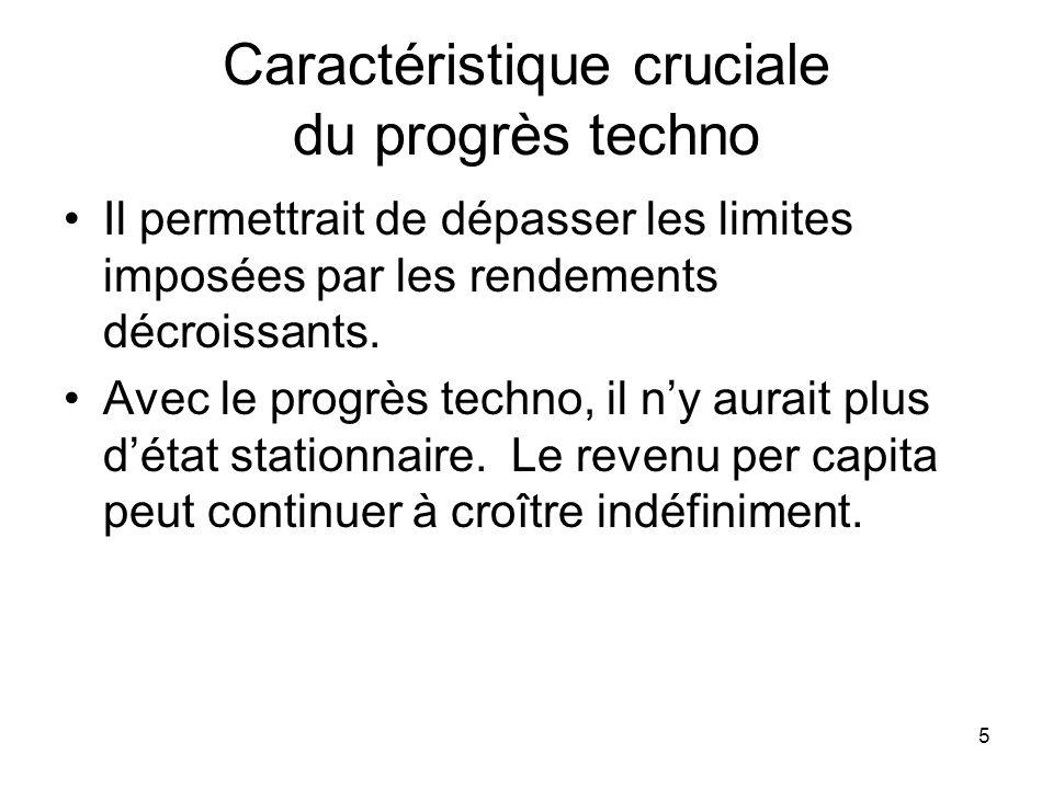 5 Caractéristique cruciale du progrès techno Il permettrait de dépasser les limites imposées par les rendements décroissants. Avec le progrès techno,