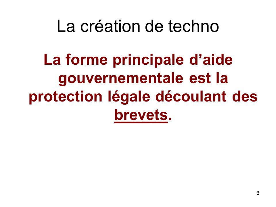 8 La création de techno La forme principale daide gouvernementale est la protection légale découlant des brevets.