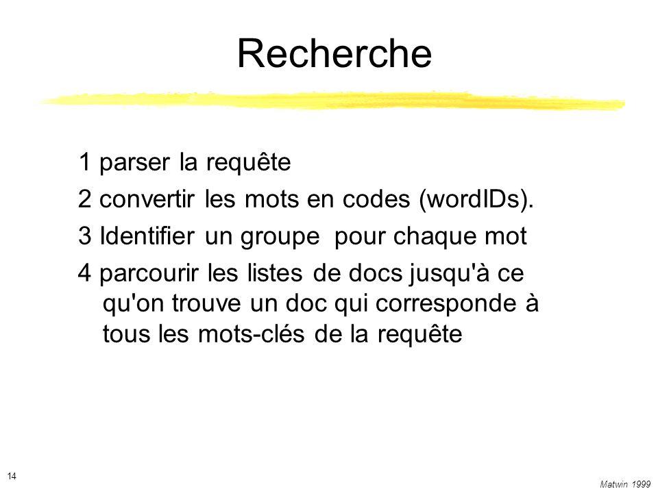 Matwin 1999 14 Recherche 1 parser la requête 2 convertir les mots en codes (wordIDs).