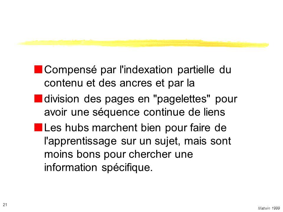 Matwin 1999 21 Compensé par l indexation partielle du contenu et des ancres et par la division des pages en pagelettes pour avoir une séquence continue de liens Les hubs marchent bien pour faire de l apprentissage sur un sujet, mais sont moins bons pour chercher une information spécifique.