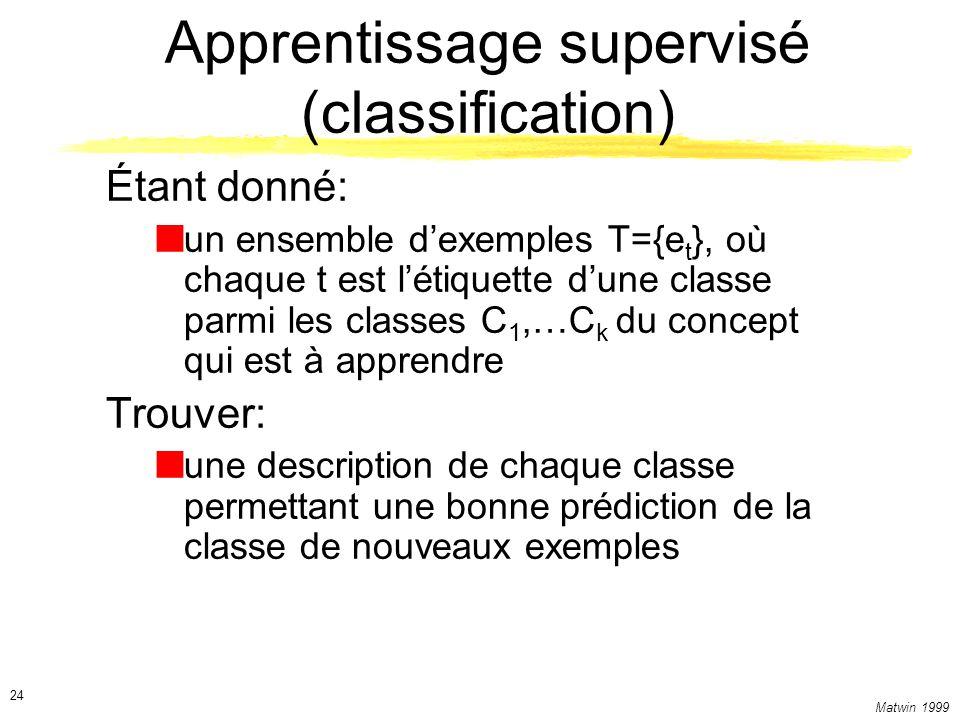 Matwin 1999 24 Apprentissage supervisé (classification) Étant donné: un ensemble dexemples T={e t }, où chaque t est létiquette dune classe parmi les classes C 1,…C k du concept qui est à apprendre Trouver: une description de chaque classe permettant une bonne prédiction de la classe de nouveaux exemples