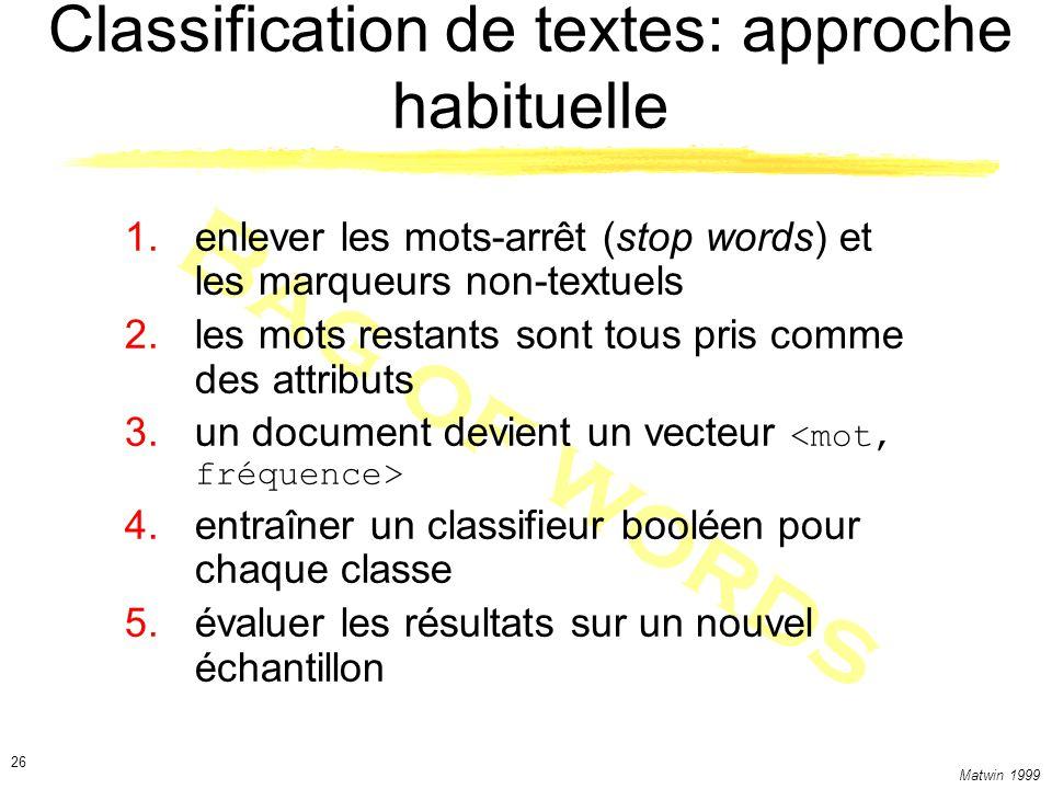 Matwin 1999 26 Bag of words Classification de textes: approche habituelle 1.enlever les mots-arrêt (stop words) et les marqueurs non-textuels 2.les mots restants sont tous pris comme des attributs 3.un document devient un vecteur 4.entraîner un classifieur booléen pour chaque classe 5.évaluer les résultats sur un nouvel échantillon