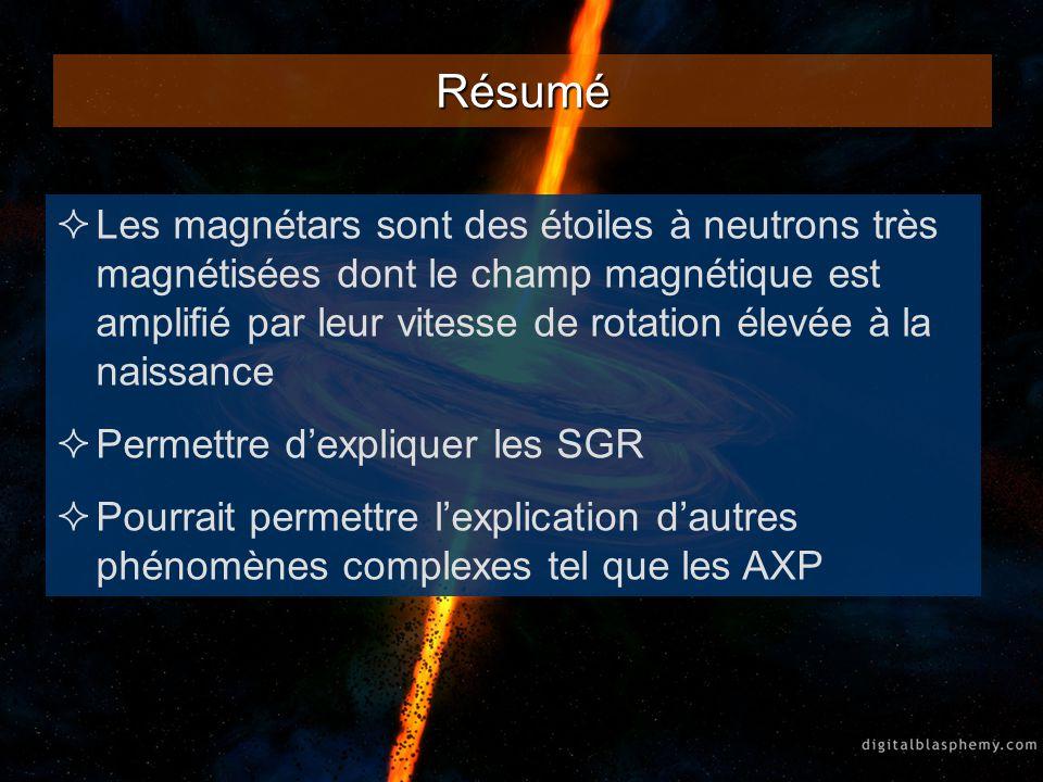 Résumé Les magnétars sont des étoiles à neutrons très magnétisées dont le champ magnétique est amplifié par leur vitesse de rotation élevée à la naiss