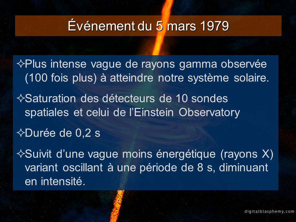 Événement du 5 mars 1979 Plus intense vague de rayons gamma observée (100 fois plus) à atteindre notre système solaire. Saturation des détecteurs de 1