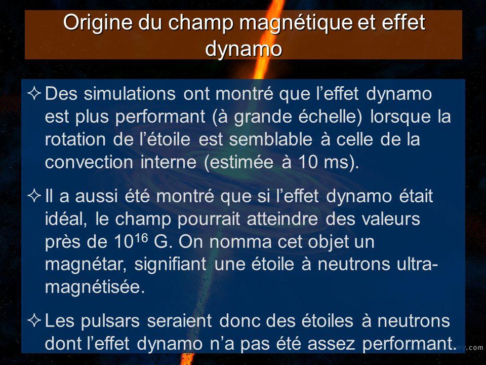 Freinage de la rotation Dautres simulations montrèrent que le freinage de la rotation dune étoile était plus grand lorsque le champ magnétique était plus intense.