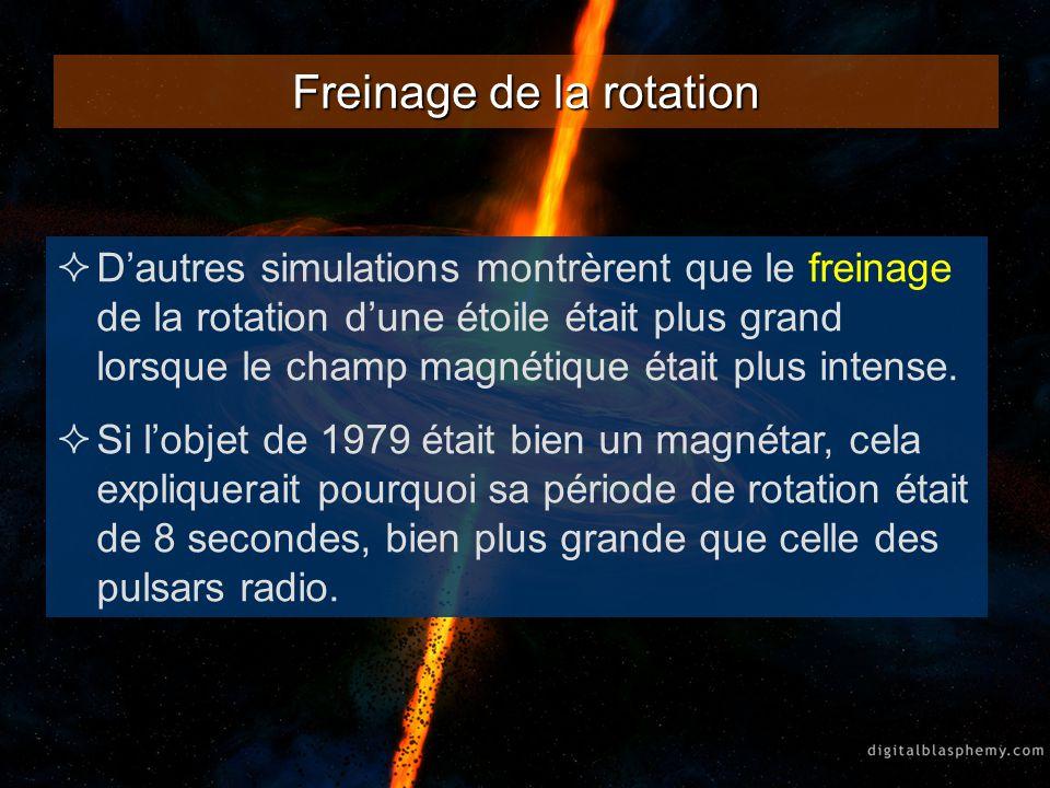 Freinage de la rotation Dautres simulations montrèrent que le freinage de la rotation dune étoile était plus grand lorsque le champ magnétique était p
