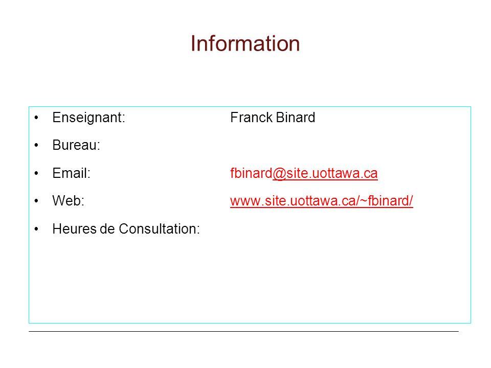 Information Enseignant: Franck Binard Bureau: Email: fbinard@site.uottawa.ca@site.uottawa.ca Web:www.site.uottawa.ca/~fbinard/www.site.uottawa.ca/~fbi