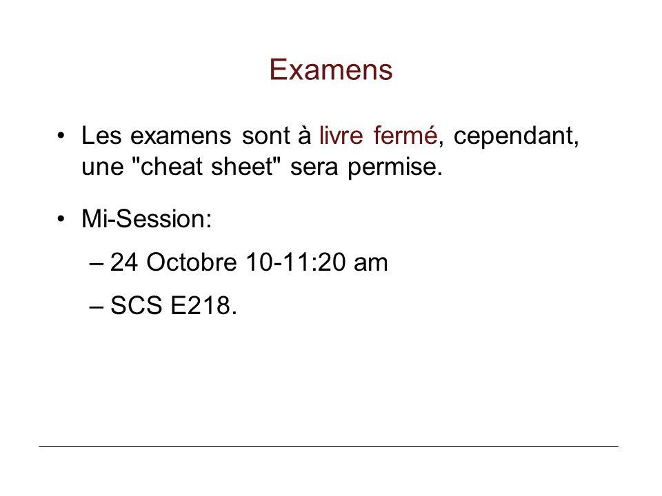Examens Les examens sont à livre fermé, cependant, une