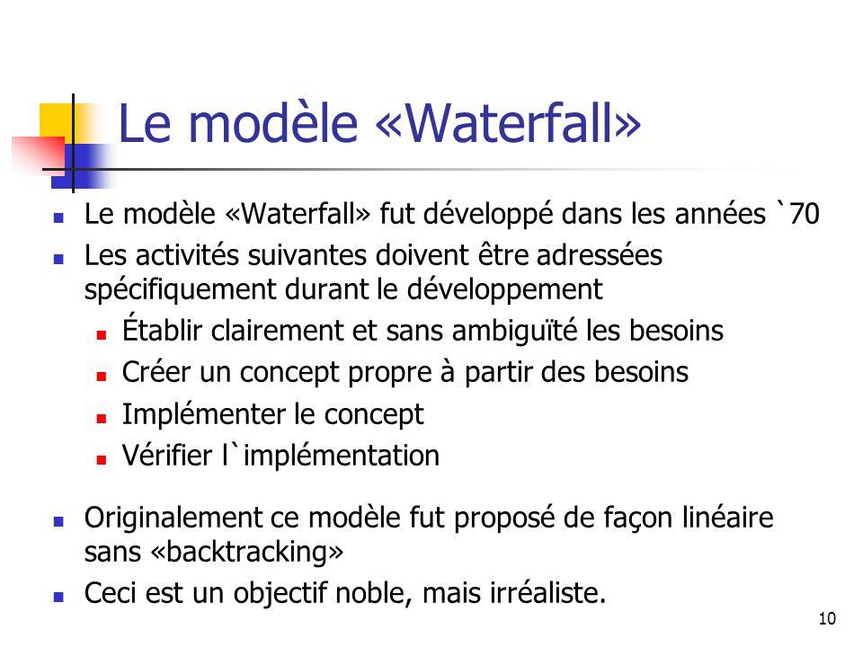 10 Le modèle «Waterfall» Le modèle «Waterfall» fut développé dans les années `70 Les activités suivantes doivent être adressées spécifiquement durant