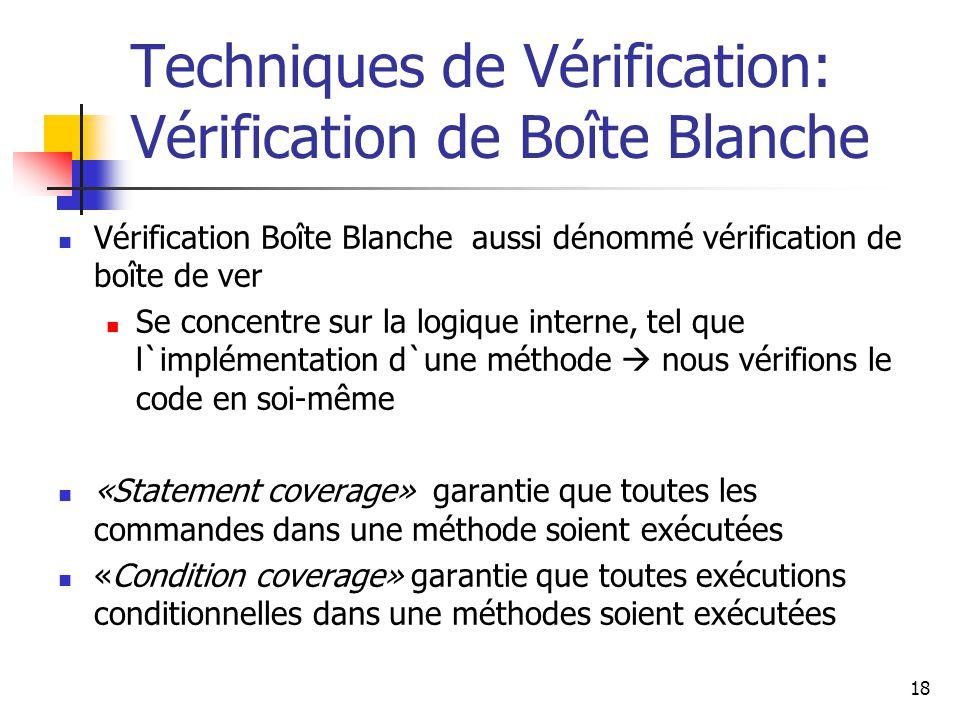 18 Techniques de Vérification: Vérification de Boîte Blanche Vérification Boîte Blanche aussi dénommé vérification de boîte de ver Se concentre sur la