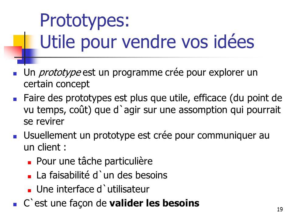 19 Prototypes: Utile pour vendre vos idées Un prototype est un programme crée pour explorer un certain concept Faire des prototypes est plus que utile