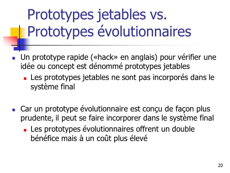 20 Prototypes jetables vs. Prototypes évolutionnaires Un prototype rapide («hack» en anglais) pour vérifier une idée ou concept est dénommé prototypes