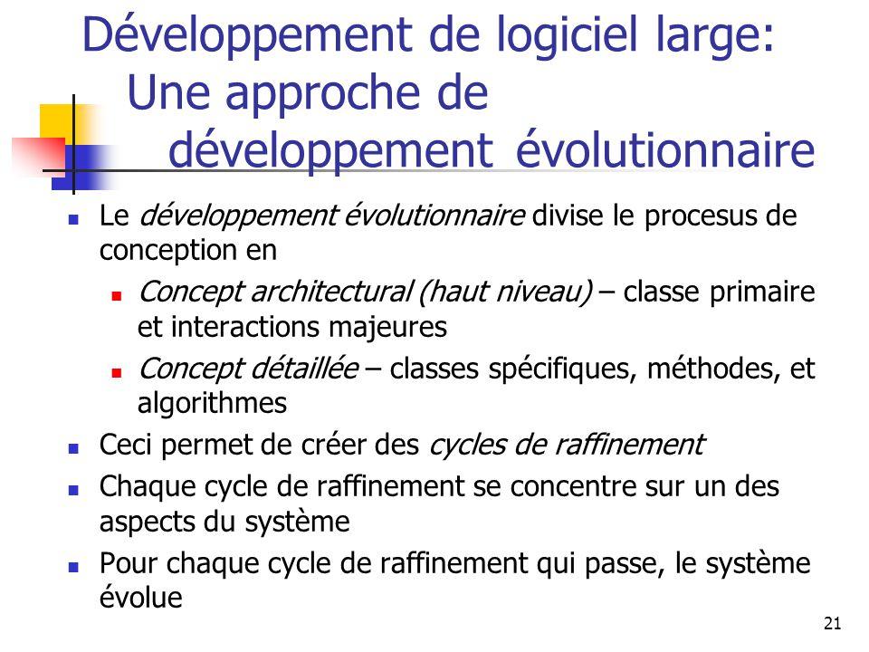 21 Développement de logiciel large: Une approche de développement évolutionnaire Le développement évolutionnaire divise le procesus de conception en C