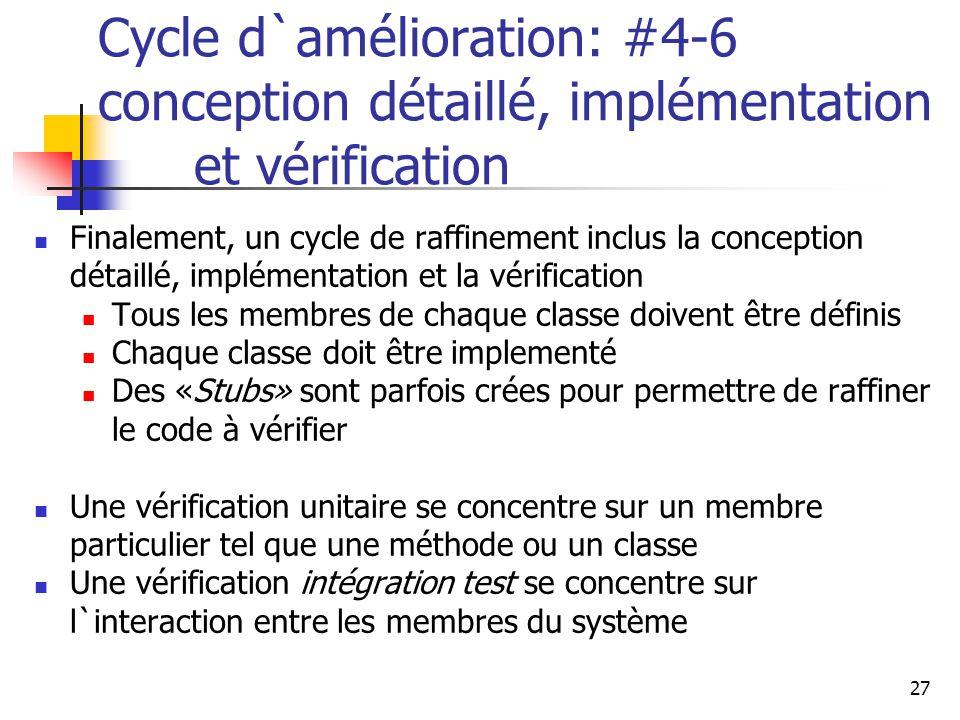 27 Cycle d`amélioration: #4-6 conception détaillé, implémentation et vérification Finalement, un cycle de raffinement inclus la conception détaillé, i