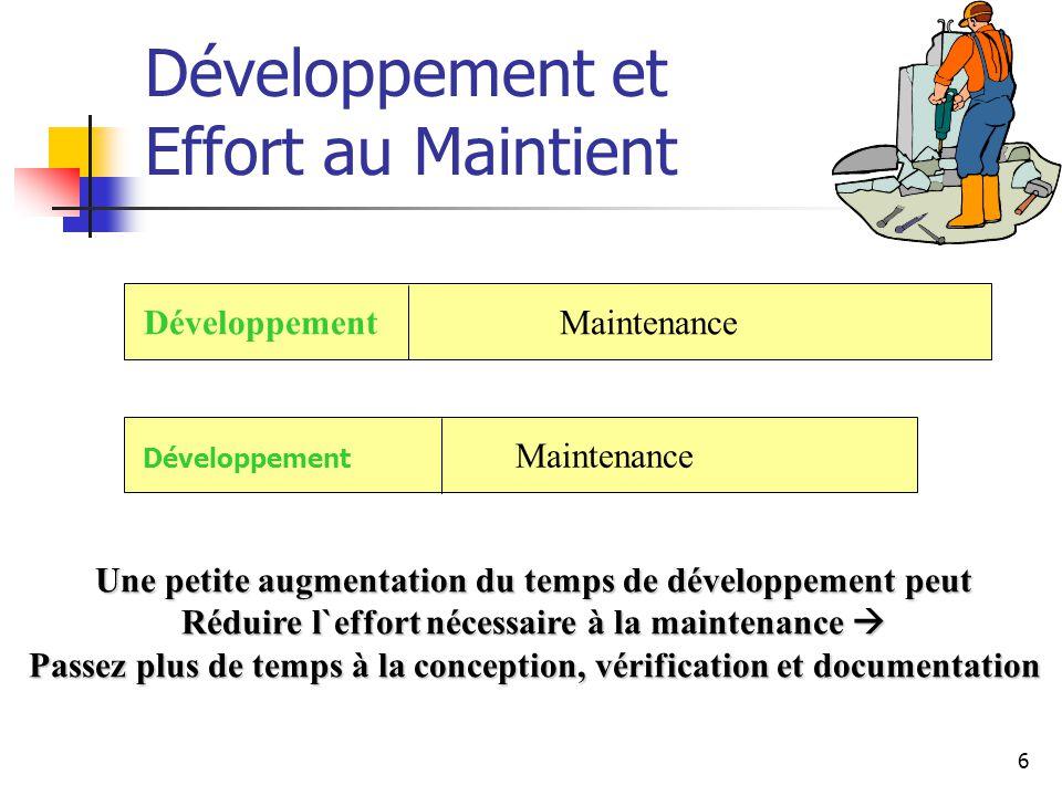 7 Développement et Effort au Maintient Souvent ceux qui maintiennent le logiciel ne sont pas ceux qui l`ont développé («règle» des 3 ans en moyenne) Les mainteneurs doivent être capable de comprendre le programme qu`ils n`ont pas conçus.