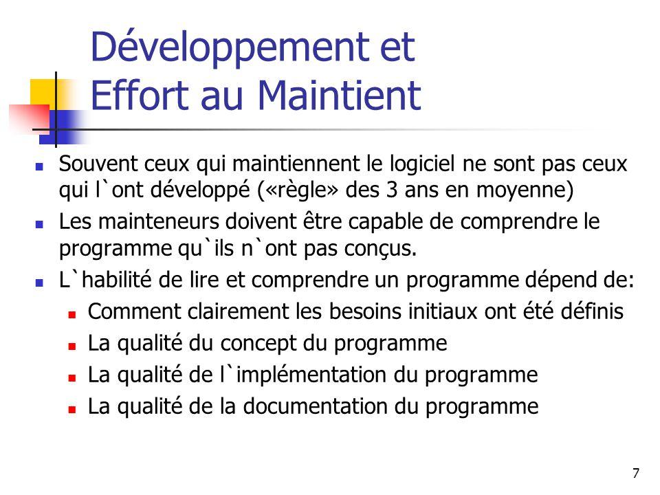 7 Développement et Effort au Maintient Souvent ceux qui maintiennent le logiciel ne sont pas ceux qui l`ont développé («règle» des 3 ans en moyenne) L