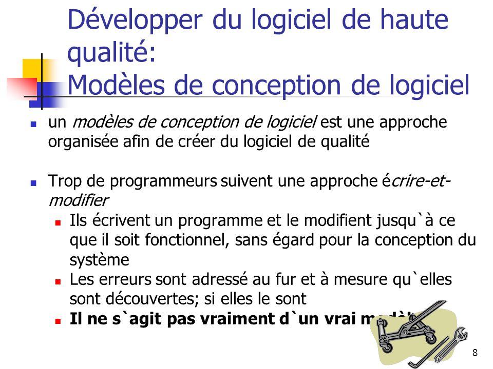 8 Développer du logiciel de haute qualité: Modèles de conception de logiciel un modèles de conception de logiciel est une approche organisée afin de c