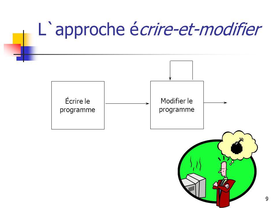 30 Spécification du code: Un Exemple (AlarmClock class) Méthodes mise à jour public void advanceTenMinutes () pré condition minutes < 50 change minutes post condition La valeur de minutes est 10 unités plus grande que avant - Nous pouvons utiliser la logique formelle pour exprimer l`ensembre invariant et les conditions pré/post - Nous pouvons utiliser la logique formelle pour prouver qu`un morceau de code est «vrai» Source: The object of Jva, David D Riley, Addison-Wesley, 2002