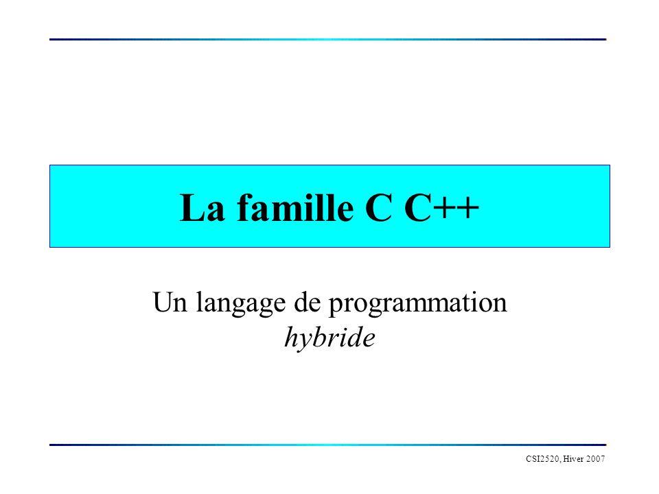 CSI2520, Hiver 2007 Historique 1971: C successeur de B 1973: UNIX écrit en C 1983: Apparition du C++ 1987: ANSI C 1998: ANSI C++