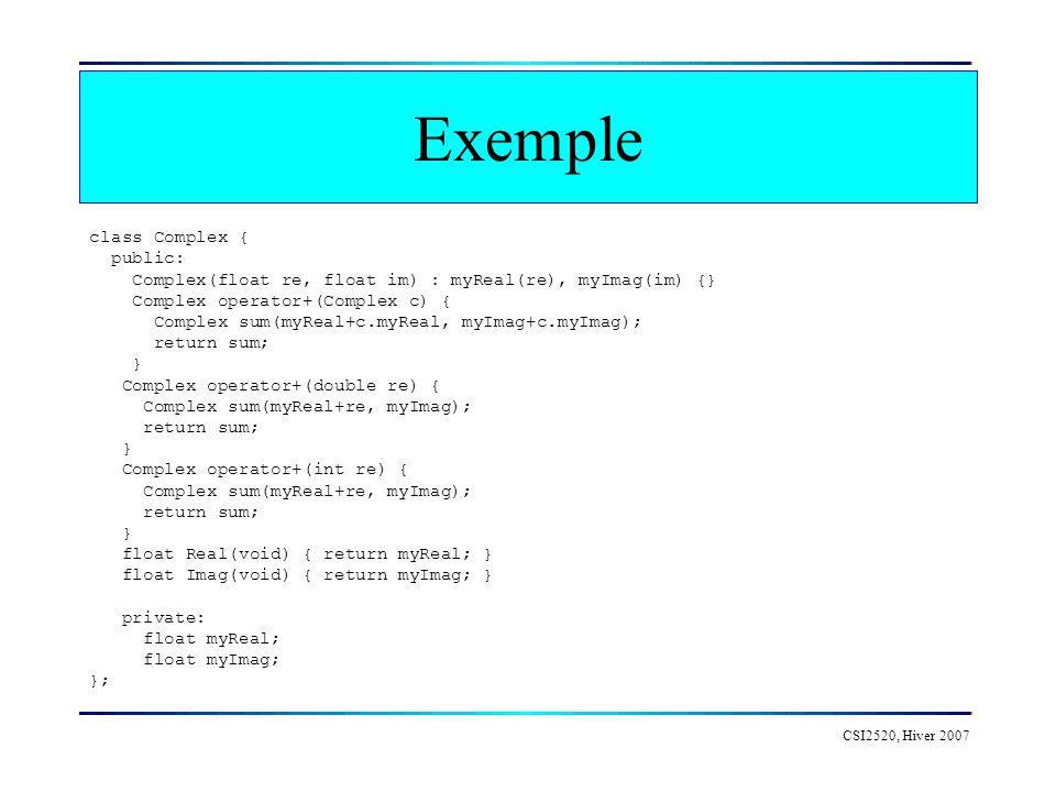 CSI2520, Hiver 2007 Exemple class Complex { public: Complex(float re, float im) : myReal(re), myImag(im) {} Complex operator+(Complex c) { Complex sum(myReal+c.myReal, myImag+c.myImag); return sum; } Complex operator+(double re) { Complex sum(myReal+re, myImag); return sum; } Complex operator+(int re) { Complex sum(myReal+re, myImag); return sum; } float Real(void) { return myReal; } float Imag(void) { return myImag; } private: float myReal; float myImag; };