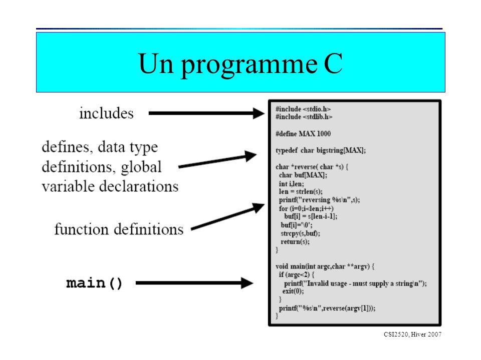 CSI2520, Hiver 2007 Type Abstrait de Données Définition de nouveaux types à laide de classes Surcharge des opérateurs –Tous les opérateurs peuvent être surchargés –Ex: operator+ –Existe en version méthode ou fonction