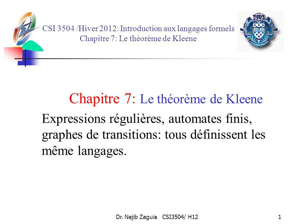Dr. Nejib Zaguia CSI3504/ H121 CSI 3504 /Hiver 2012: Introduction aux langages formels Chapitre 7: Le théorème de Kleene Chapitre 7: Le théorème de Kl