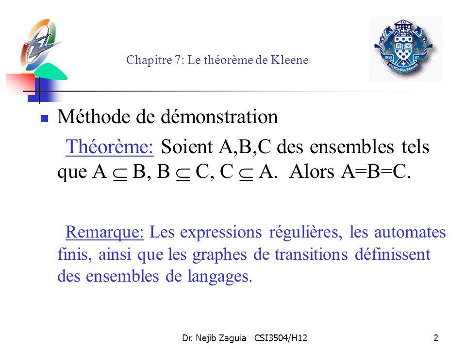 Dr. Nejib Zaguia CSI3504/H122 Chapitre 7: Le théorème de Kleene Méthode de démonstration Théorème: Soient A,B,C des ensembles tels que A B, B C, C A.