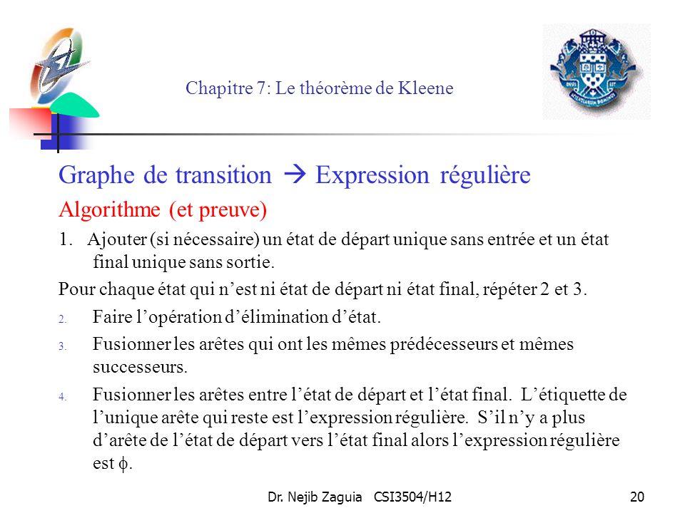 Dr. Nejib Zaguia CSI3504/H1220 Chapitre 7: Le théorème de Kleene Graphe de transition Expression régulière Algorithme (et preuve) 1. Ajouter (si néces