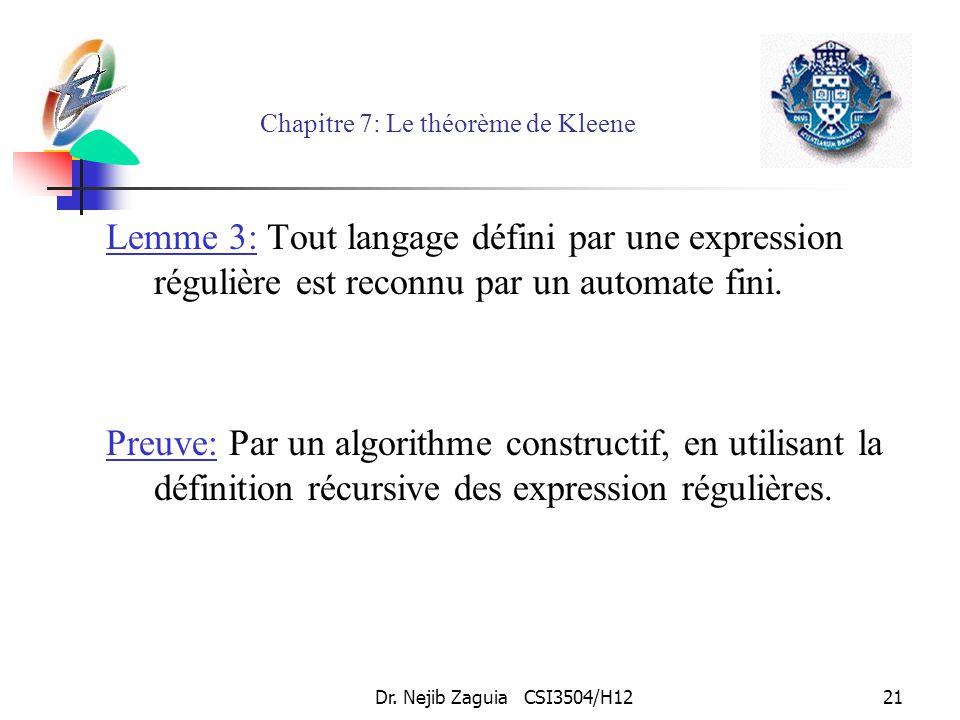 Dr. Nejib Zaguia CSI3504/H1221 Chapitre 7: Le théorème de Kleene Lemme 3: Tout langage défini par une expression régulière est reconnu par un automate