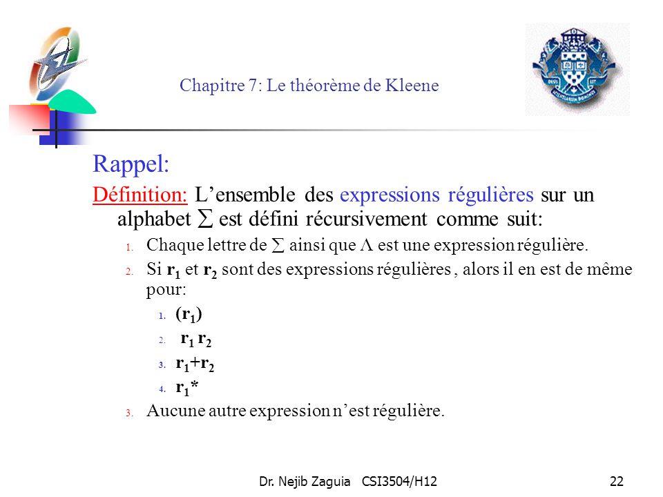 Dr. Nejib Zaguia CSI3504/H1222 Chapitre 7: Le théorème de Kleene Rappel: Définition: Lensemble des expressions régulières sur un alphabet est défini r